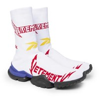 Vetements Reebok Sock Pump Logo Jacquard Stretch Knit Sneakers White