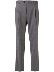 Gieves And Hawkes Mid Rise Straight Leg Trousers Grey