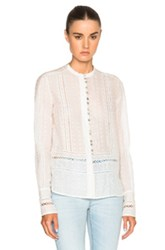 Derek Lam 10 Crosby Embroidered Top In White