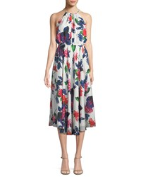 Milly Casey Floral Print Silk Halter Dress Multi