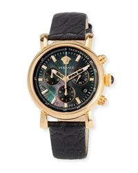 Versace 38Mm Day Glam Chronograph Watch W Leather Strap Golden Black