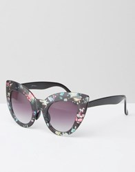 Jeepers Peepers Oversized Cat Eye Sunglasses In Floral Print Multi