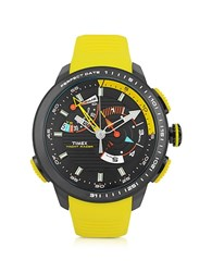 Timex Yacht Racer Black Stainless Steel Case And Yellow Silicone Strap Men's Chrono Watch
