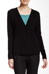 Lafayette 148 New York Long Sleeve V Neck Cashmere Cardigan Black