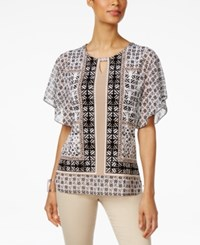 Jm Collection Printed Butterfly Sleeve Top Only At Macy's Batik Tile