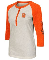 Colosseum Women's Syracuse Orange Chevelle Henley T Shirt Cream