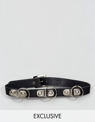 Reclaimed Vintage Inspired Choker In Leather With Rings Black