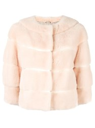 Yves Salomon Three Quarters Sleeve Jacket Pink Purple