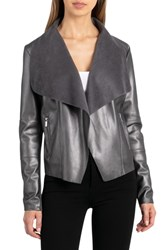 Bagatelle Drape Faux Leather And Faux Suede Jacket Gunmetal