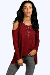 Boohoo Ribbed Cold Shoulder Long Sleeve Top Burgundy