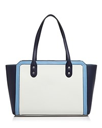 Ivanka Trump Soho Solutions Color Block Leather Tote Eclipse Blue Cornflower Blue White Silver