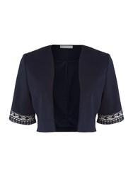 Shubette Crepe Jacket With Lace Detail Navy