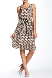 Orla Kiely Silk Tie Waist Dress Brown
