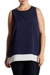 14Th And Union Sleeveless Layered Shell Blouse Plus Size Blue