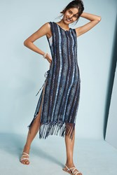 Anthropologie L Space Striped And Fringed Cover Up Navy