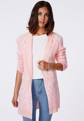 Missguided Catrina Aztec Brushed Oversized Cardigan Pink