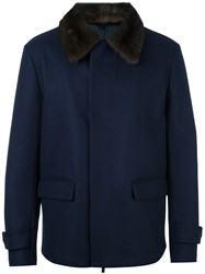 Fendi Mink Fur Collar Jacket Blue