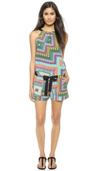 Twelfth St. By Cynthia Vincent V Back Belted Romper Riviera Scarf