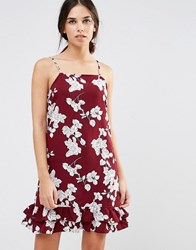 Daisy Street Drop Hem Dress In Illustrated Floral Print Maroon Red