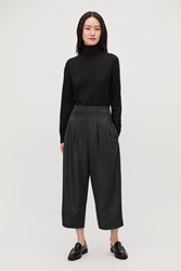 Cos Crop Pleated Wool Trousers Grey