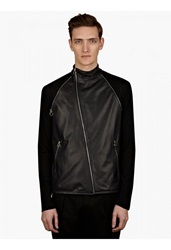 Paul Smith Men's Navy Leather Cycling Jacket