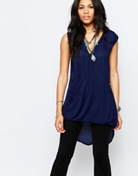 Glamorous V Neck Sleeveless Top Navy