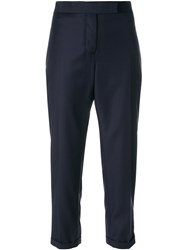 Thom Browne Cropped Tailor Trousers Silk Wool Blue
