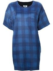 Maison Martin Margiela Mm6 Maison Margiela Plaid Print T Shirt Dress Blue