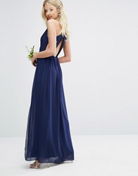 Tfnc Wedding Pleated Maxi Dress With Back Detail Navy