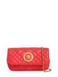 Versace Mini Icon Quilted Leather Shoulder Bag Rosso