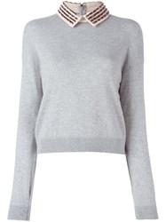 Giamba Embellished Collar Sweater Grey