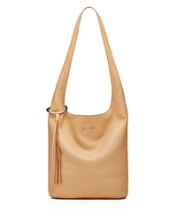 Elizabeth And James Finley Courier Pebbled Leather Hobo Natural Silver