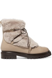 Jimmy Choo Darcie Shearling And Leather Ankle Boots Beige
