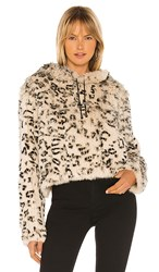 Adrienne Landau Knit Rabbit Fur Hoodie In Black. Black And White