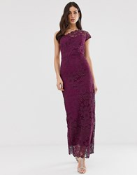 Paper Dolls All Over Lace One Shoulder Maxi Dress Purple