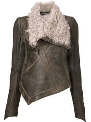 Isabel Benenato Draped Shearling Jacket Brown