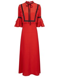 Vivetta Red Ruffle Bib Midi Dress