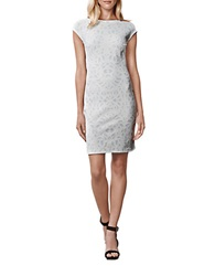Julia Jordan Rio Metallic Jacquard Sheath Dress Ivory Silver