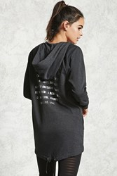 Forever 21 Active Longline Graphic Hoodie Charcoal Silver