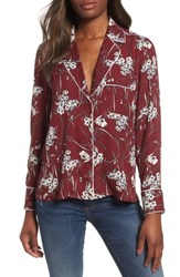 Everleigh Pajama Top With Piping Burgundy Ivory Daisy Navy