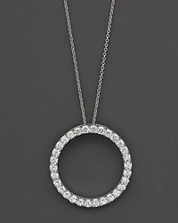 Roberto Coin 18K White Gold And Diamond Large Circle Necklace 16 No Color