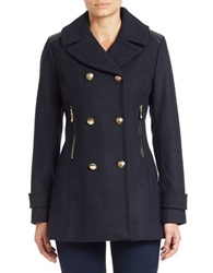 Vince Camuto Double Breasted Military Coat Navy Blue