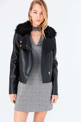 Kimchi And Blue Glam Faux Fur Collar Biker Jacket Black