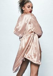 Missguided Londunn Pink Hammered Satin Duster Jacket
