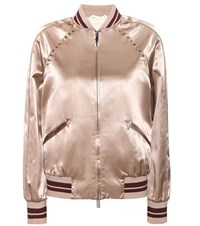 Valentino Rockstud Untitled Satin Varsity Jacket Neutrals