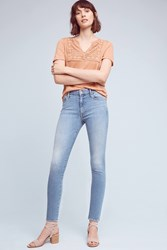 Anthropologie Mother Looker High Rise Skinny Petite Jeans Denim Light
