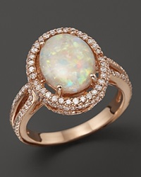 Bloomingdale's Opal And Diamond Halo Ring In 14K Rose Gold Pink