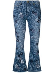 Michael Michael Kors Floral Printed Flared Jeans Blue