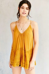 Staring At Stars Lace Trim Cami Mustard