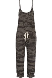 Enza Costa Printed Linen Jumpsuit Army Green